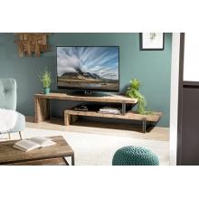 Meuble TV 2 niveaux Teck recyclé Acacia Mahogany et métal