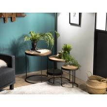 Set de 3 tables d'appoint rondes gigogne Teck recyclé Acacia Mahogany pieds métal