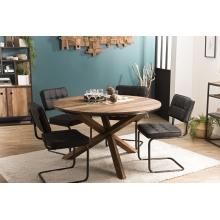 Table à manger ronde 130x130cm pieds croisés Teck recyclé Acacia Mahogany