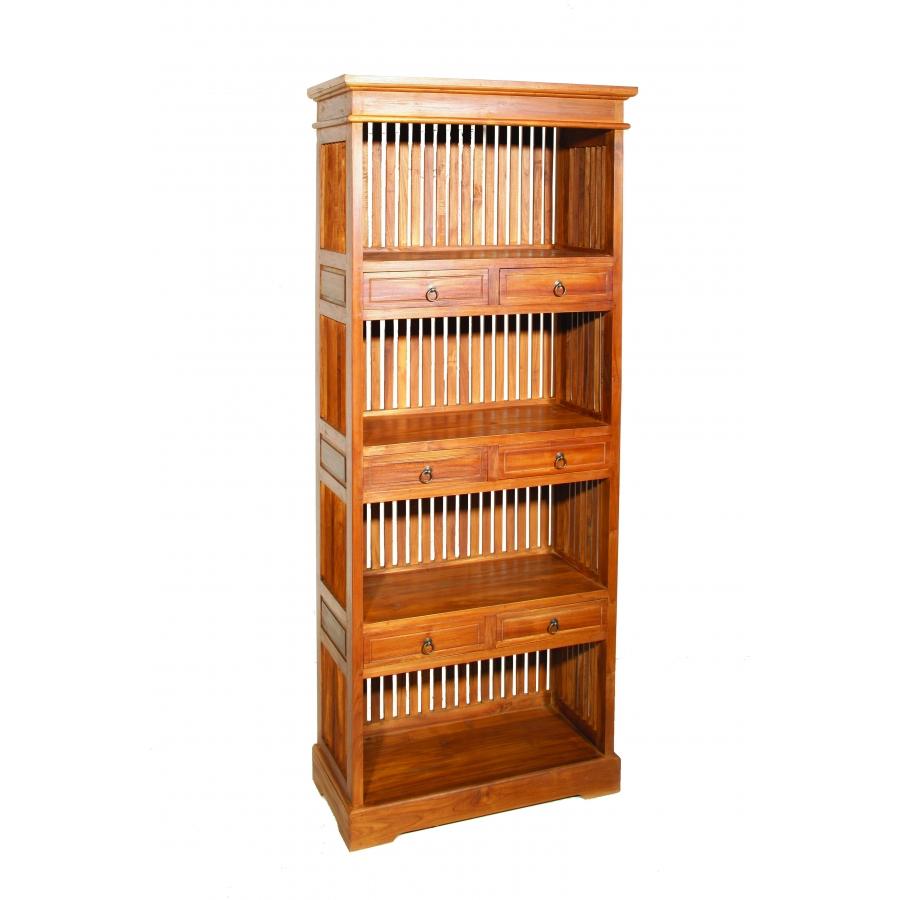 Etag re biblioth que 6 tiroirs teck meubles macabane - Bibliotheque en bois exotique ...