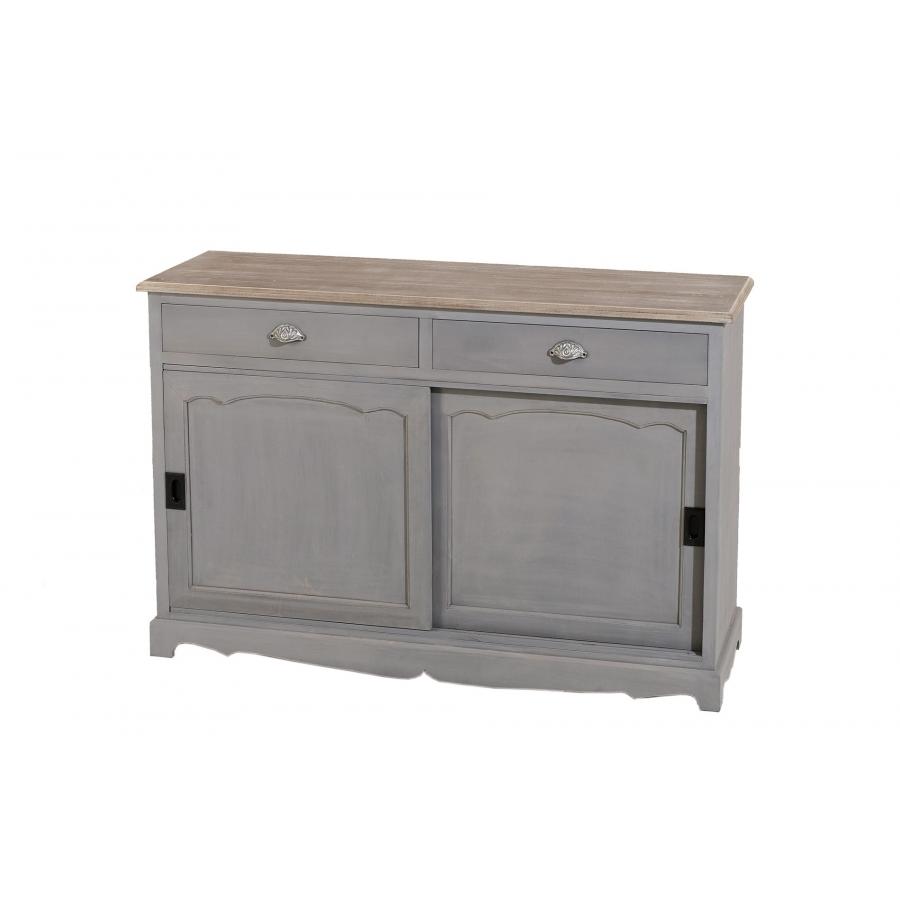 bahut 2 portes coulissantes 2 tiroirs paulownia meubles macabane meubles et objets de d coration. Black Bedroom Furniture Sets. Home Design Ideas