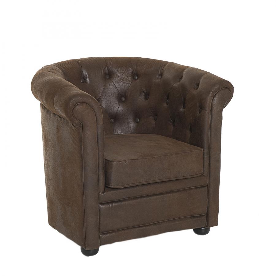 Fauteuil chesterfield marron microfibre meubles macabane - Fauteuil cabriolet chesterfield ...