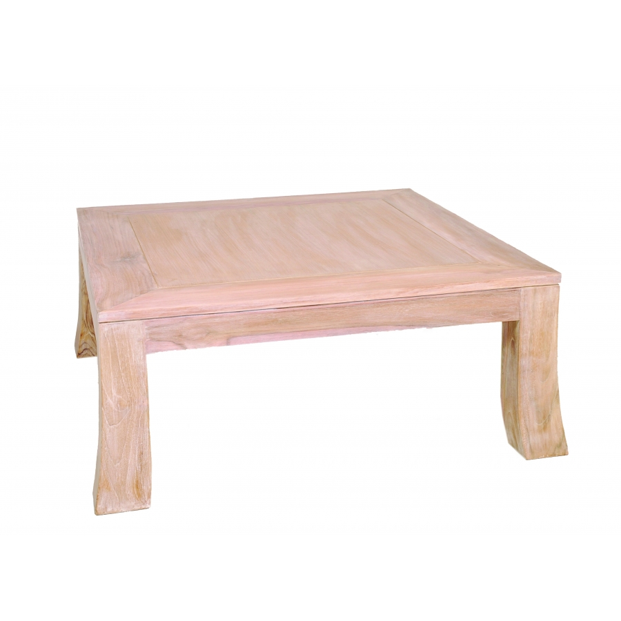 Table basse carr e 80 x 80 cm teck blanchi meubles - Table basse 80 x 80 ...