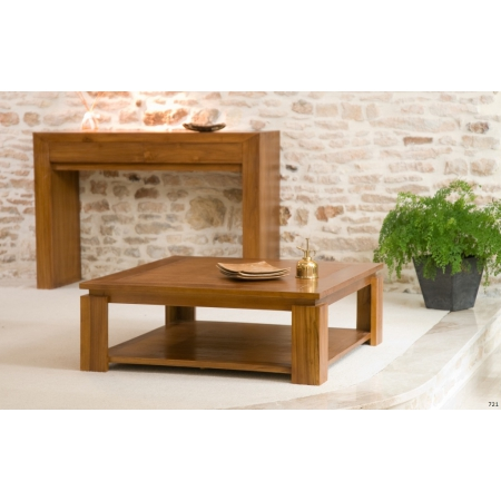 Table basse bois Teck sous plateau 90x90cm