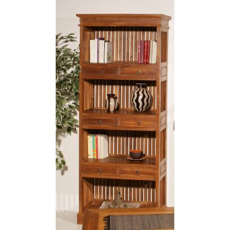 Etagère bibliothèque 6 tiroirs teck