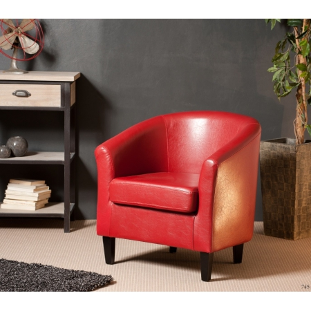 Fauteuil cabriolet New York rouge