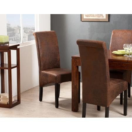 Lot de 2 chaises marron microfibre