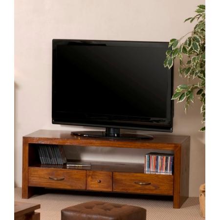 Meuble tv bois 2 grands tiroirs 1 petit tiroir