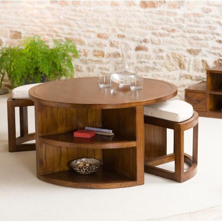 Table basse ronde bois 2 tabourets avec coussins