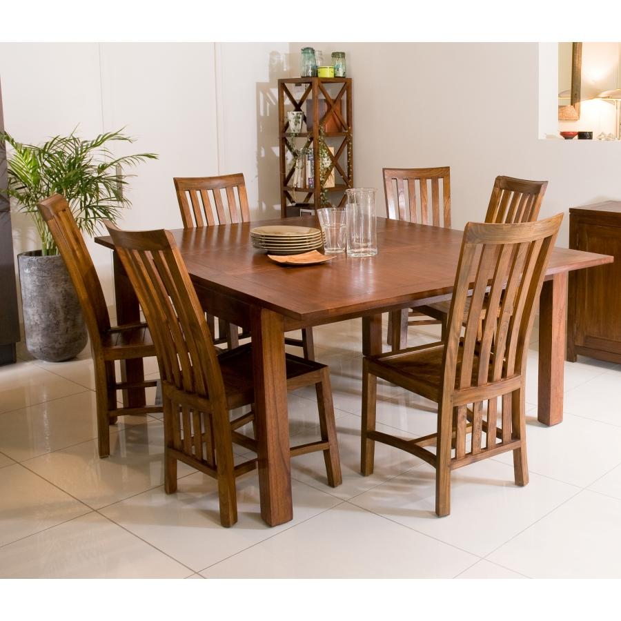 Table Salle A Manger Carré Avec Rallonge table à manger carrée rallonge 140/50 x 140 cm bois mindi