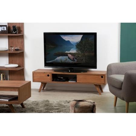 Banc tv bois 1 porte coulissante