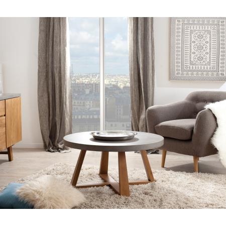 Table basse ronde bois et béton