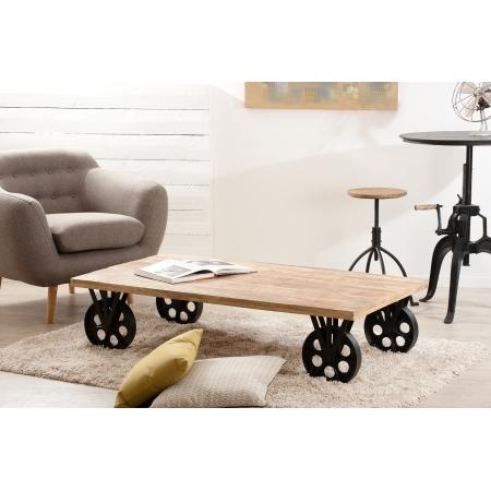 Table basse industrielle grosses roulettes