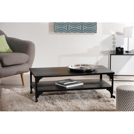 Table basse industrielle noire double plateau