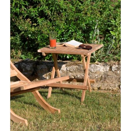 Table de jardin pique nique carrée en bois Teck