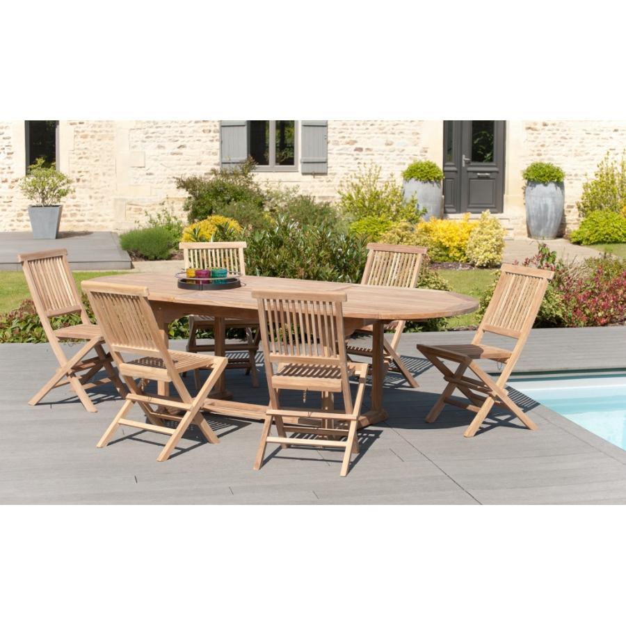 Salon de jardin en teck grade A, comprenant 1 table ovale extensible  180*240/100 cm et 3 lots de 2 chaises java