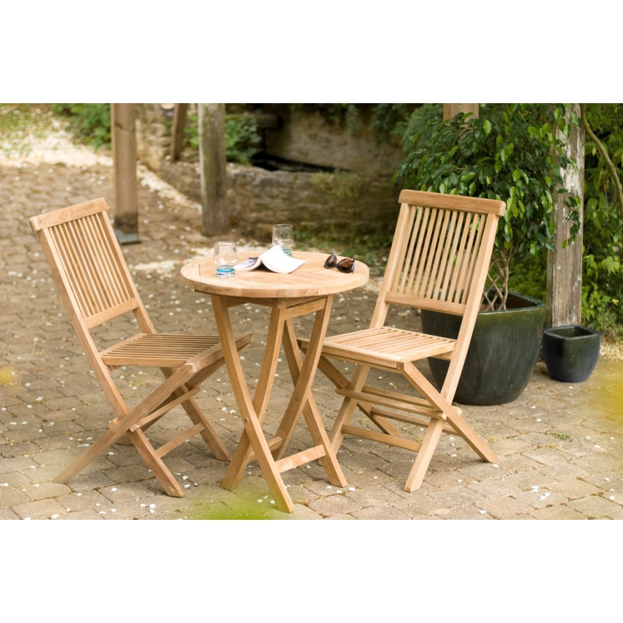 Salon de jardin n°19 en teck comprenant 1 table ronde 60 x 60 cm / 2 ...
