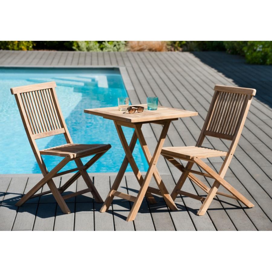 Salon de jardin en teck grade A, comprenant 1 table carrée pliante 60 cm et  1 lot de 2 chaises java