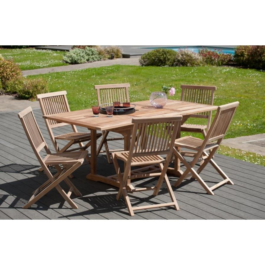 Salon de jardin en teck grade A, comprenant 1 table rectangulaire  extensible 120*180/90 cm et 3 lots de 2 chaises java
