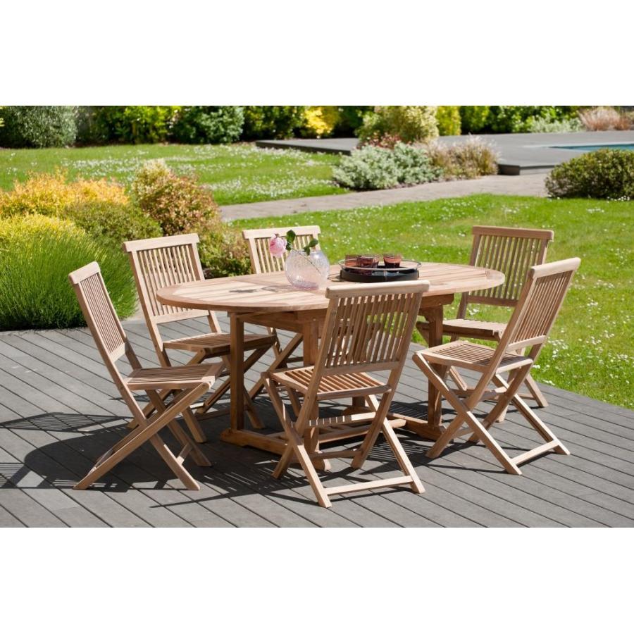 Salon de jardin en teck grade A, comprenant 1 table ovale extensible  120*180/90 cm et 3 lots de 2 chaises java