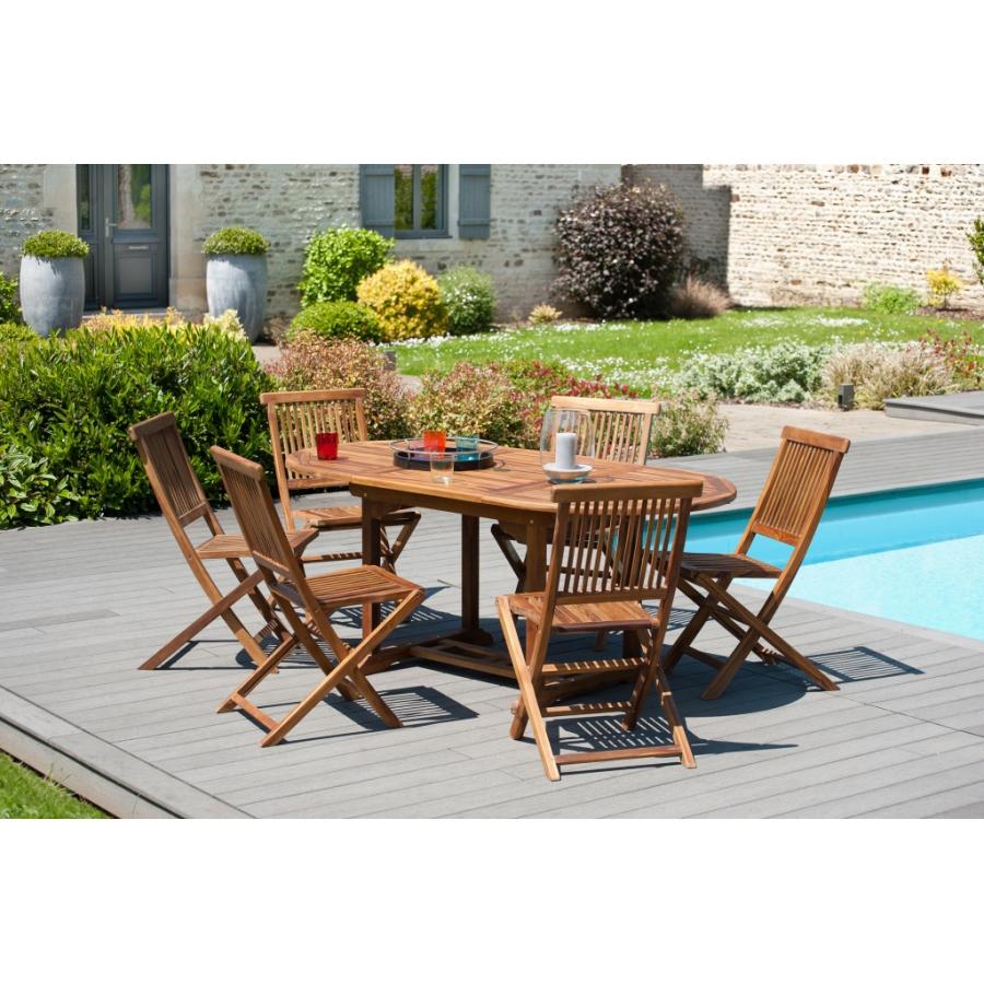 Salon de jardin en bois teck huilé: 1 table ovale extensible120*180/90 cm  et 3 lots de 2 chaises java