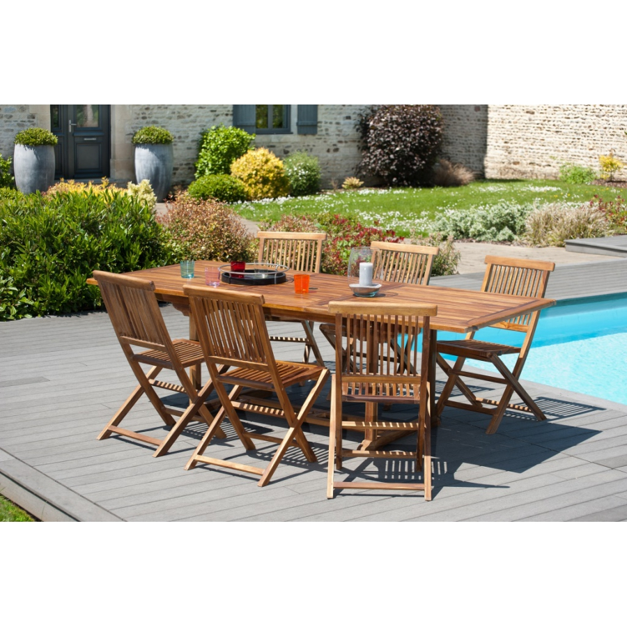 Salon de jardin en bois teck huilé: 1 table rectangulaire extensible  180*240/100 cm et 3 lots de 2 chaises java