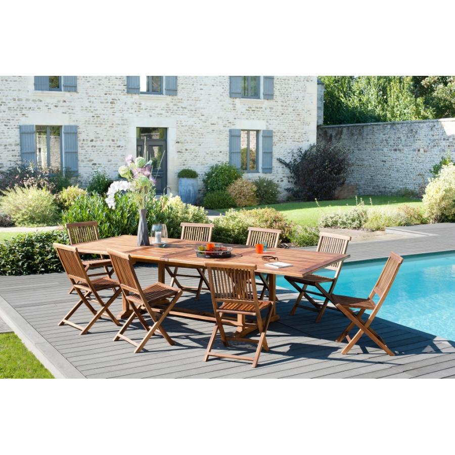 Salon de jardin en teck huilé: 1 table rectangulaire extensible 200*300/120  cm et 4 lots de 2 chaises java