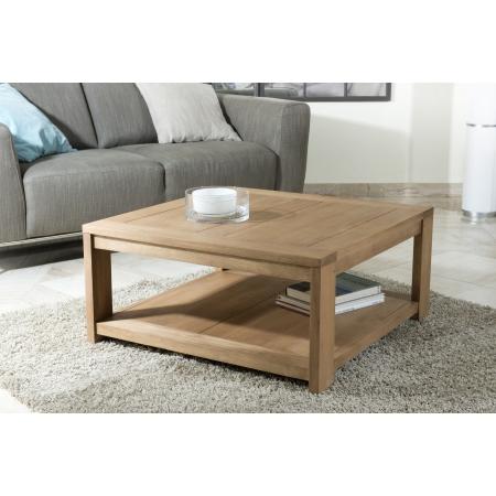 Table basse carrée 80 x 80 sous plateau