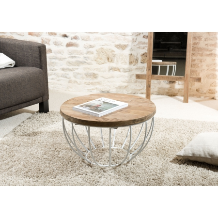 Table basse coque blanche 60 x 60 cm