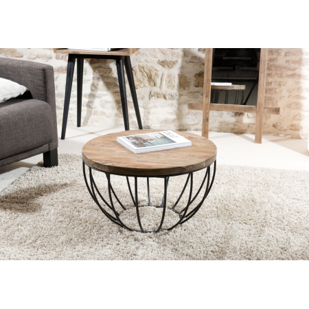 Table basse bois coque noire 60 x 60 cm