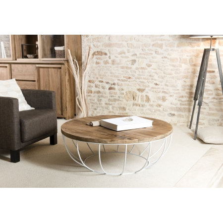 Table basse bois coque blanche 100 x 100 cm