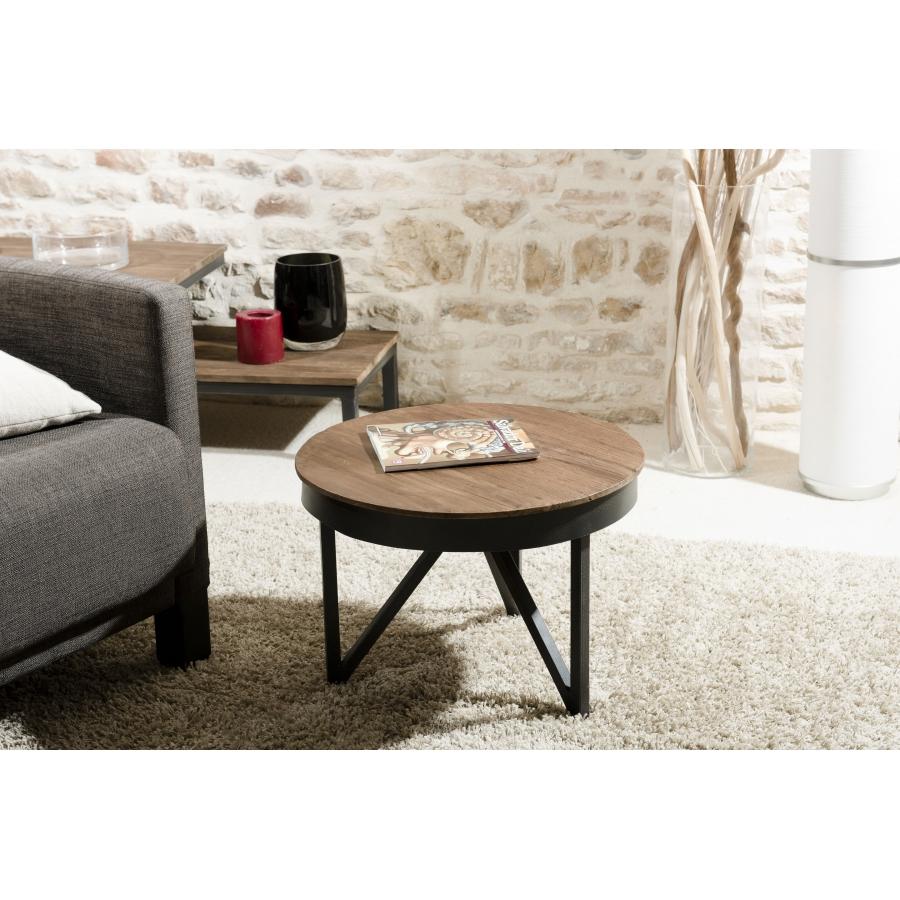 Table basse ronde d\'appoint 50 x 50 cm bois et métal