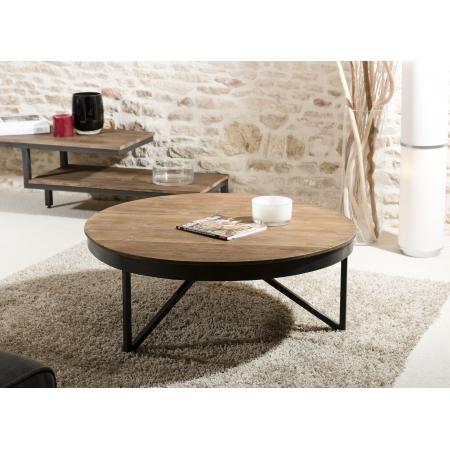 Table basse ronde 90 x 90 cm bois et métal
