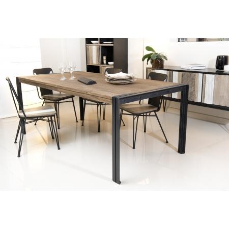 Table à manger 200 x 100 cm bois et métal