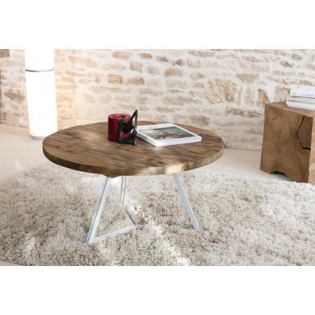 Table basse ronde pieds blancs 75 x 75 cm