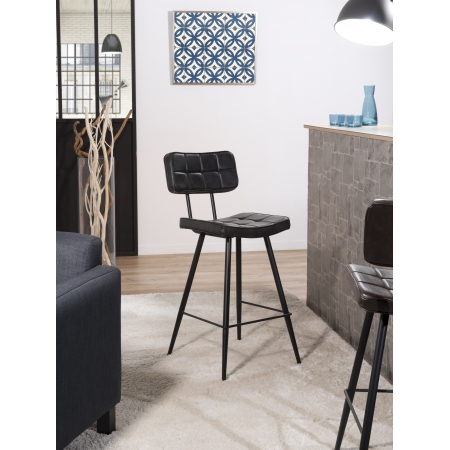 Lot de 2 chaises de bar James noir