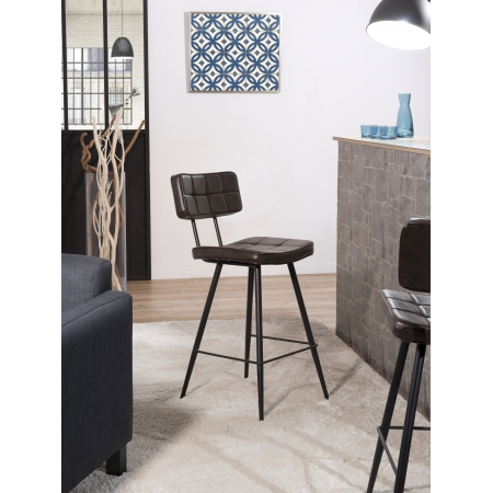 Lot de 2 chaises de bar James marron