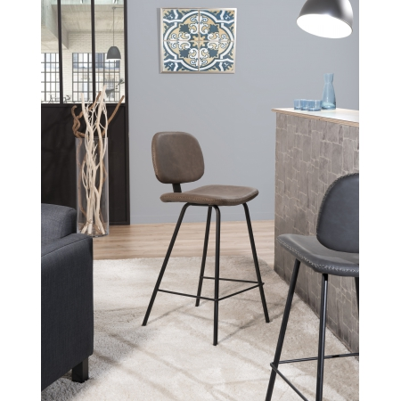 Lot de 2 chaises de bar Jimmy marron