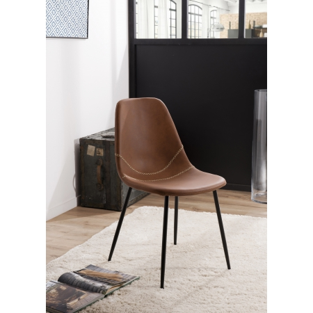 Lot de 2 chaises John marron