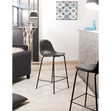 Lot de 2 chaises de bar John noir