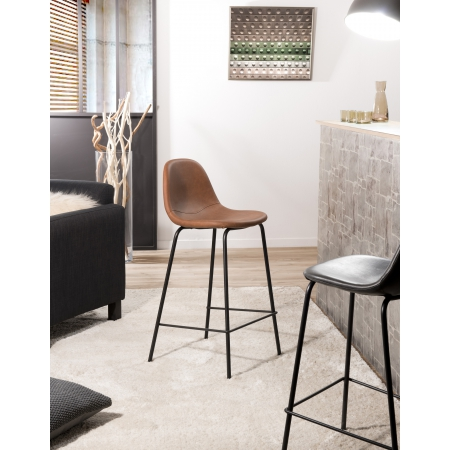 Lot de 2 chaises de bar John marron