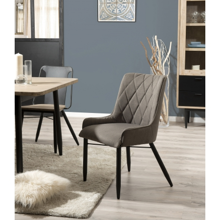 Lot de 2 chaises bois et tissu pieds en métal