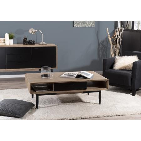 Table basse 2 tiroirs 2 niches bois et métal