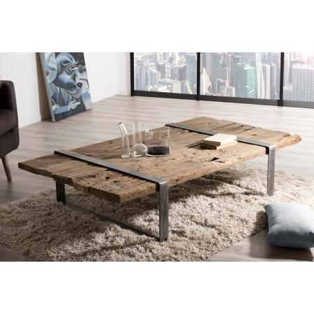 Table basse bois massif cerclée métal