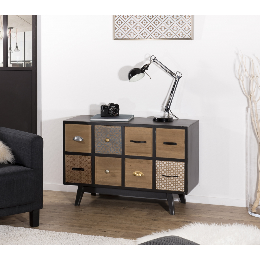 Commode Chambre Style Industriel commode 8 tiroirs