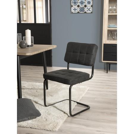Lot de 2 chaises tissu gris anthracite