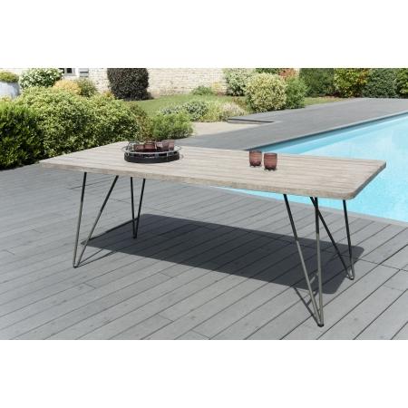 Table de jardin en bois Teck teinté grisé et...
