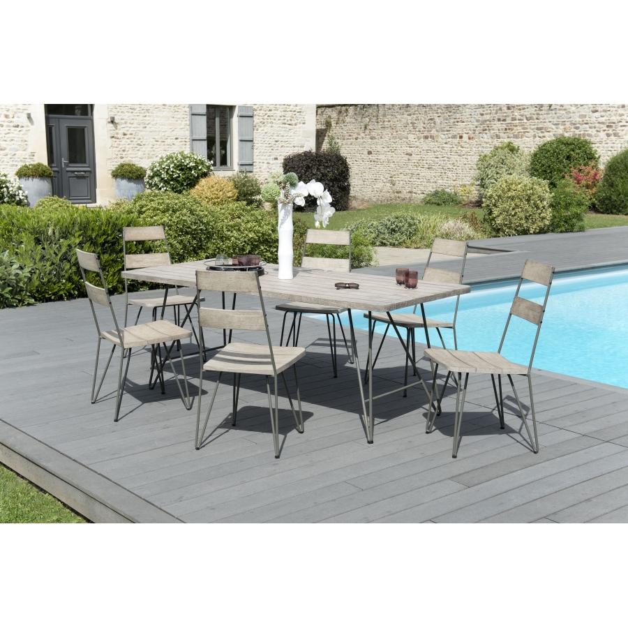 Salon de jardin en teck teinté, comprenant 1 table à manger pieds scandi et  3 lots de 2 chaises sandi bois et métal