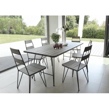 Salon de jardin n°301 comprenant 1 table à manger pieds scandi et 3 ...
