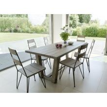 Salon de jardin en teck teinté, comprenant 1 table à manger rectangulaire  et 3 lots de 2 chaises sandi bois et métal